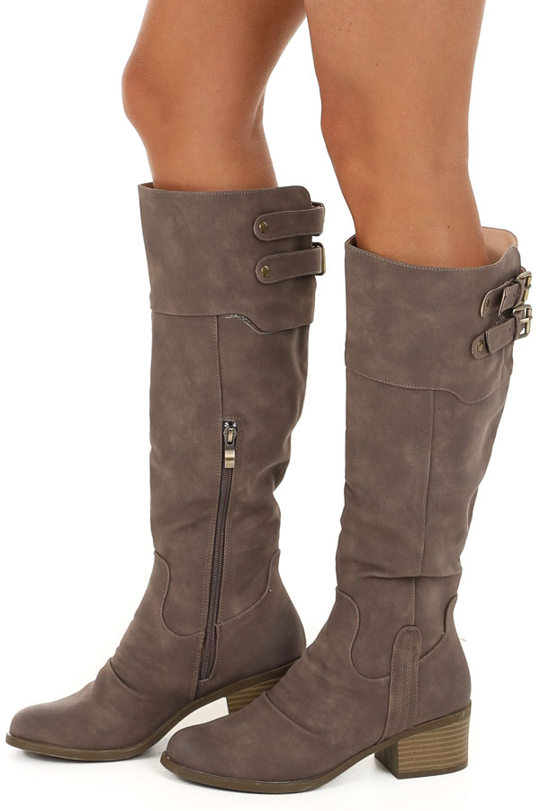 Cocoa Tall High Heeled Boots with Brass Buckle Details side view