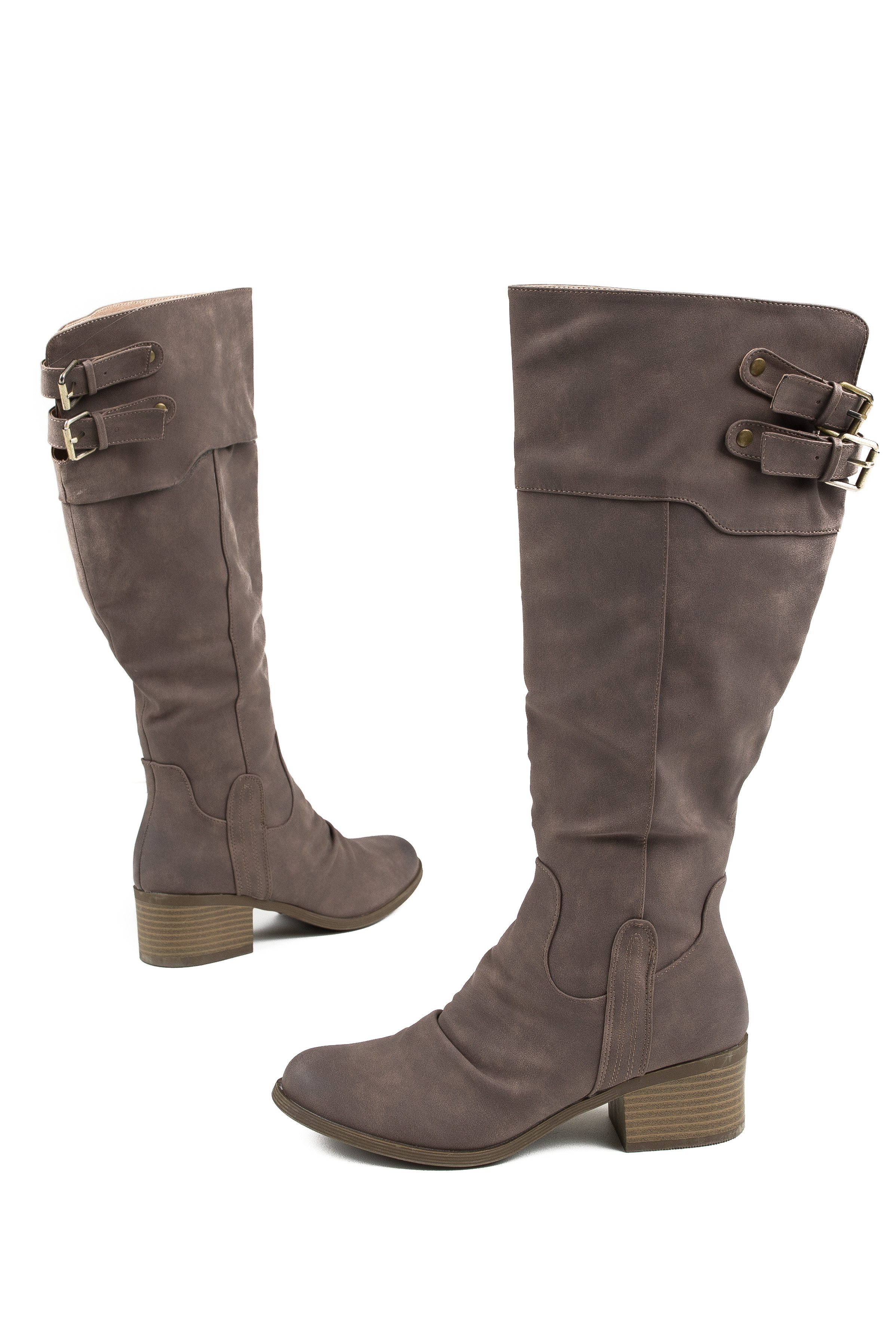 Cocoa Tall High Heeled Boots with Brass Buckle Details details