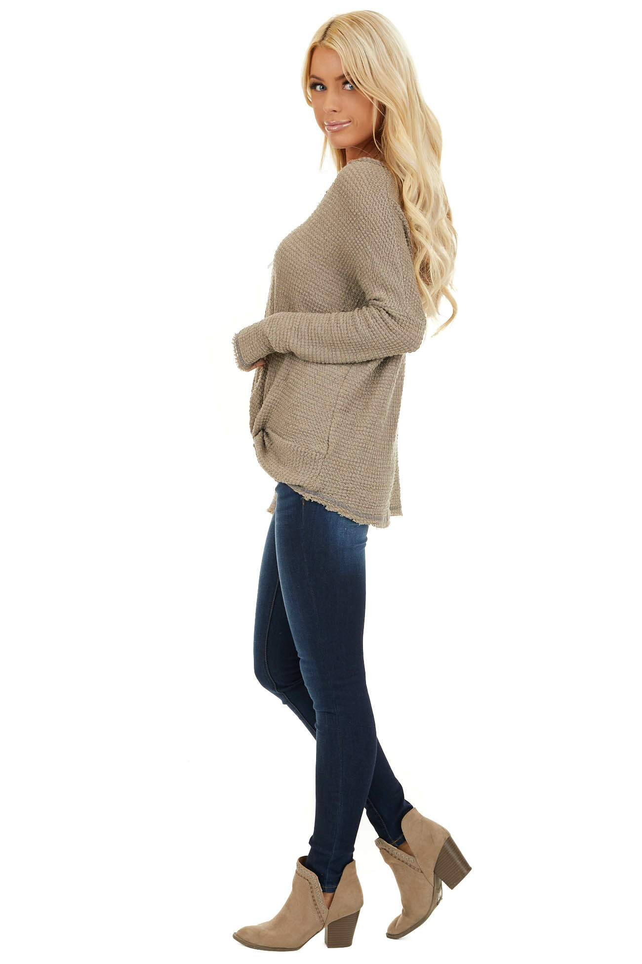 Taupe Long Sleeve Waffle Knit Top with Front Twist Detail side full body