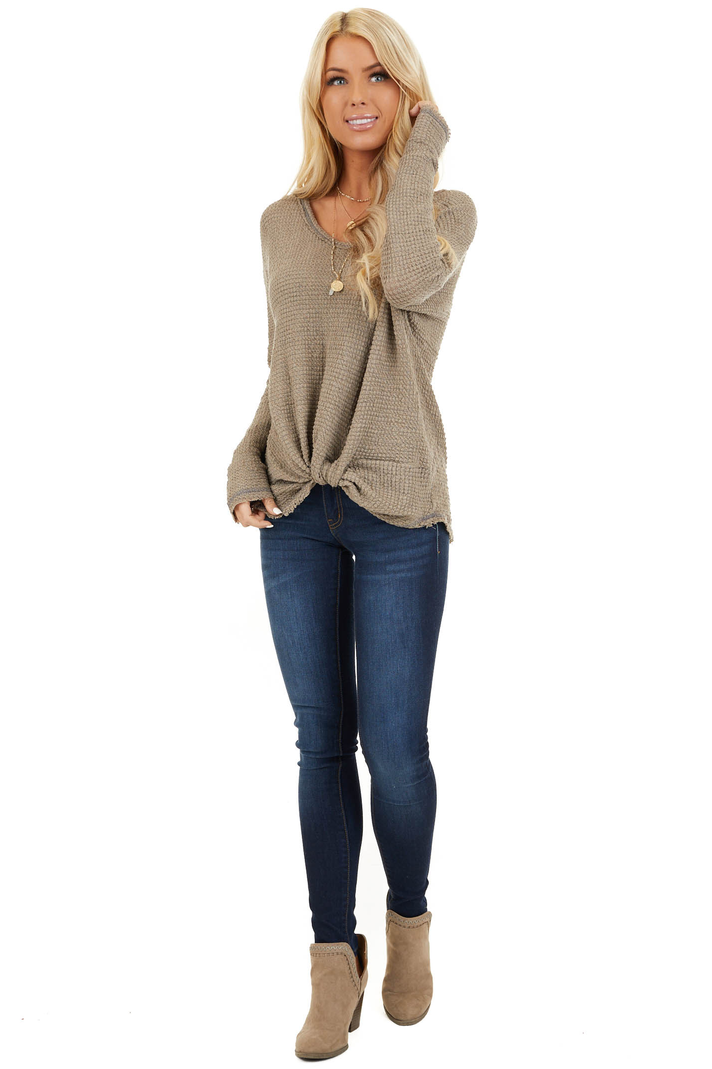 Taupe Long Sleeve Waffle Knit Top with Front Twist Detail front full body