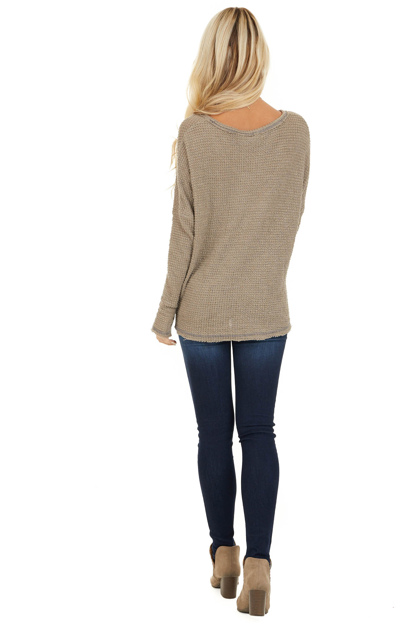 Taupe Long Sleeve Waffle Knit Top with Front Twist Detail back full body