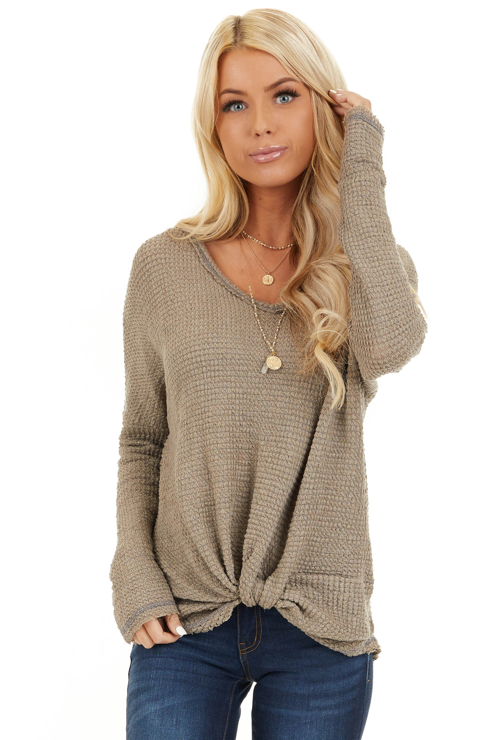 Taupe Long Sleeve Waffle Knit Top with Front Twist Detail front close up