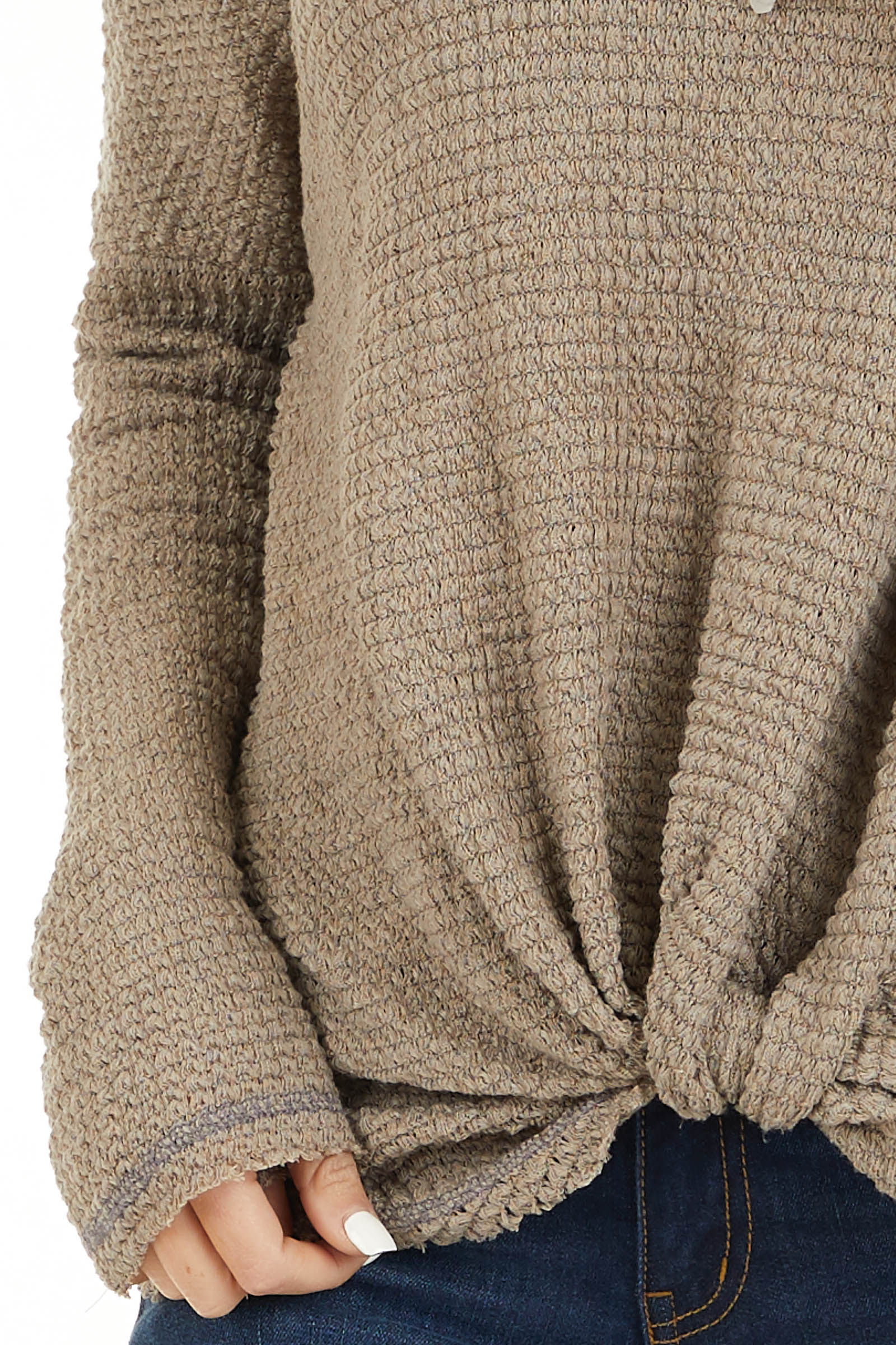 Taupe Long Sleeve Waffle Knit Top with Front Twist Detail detail