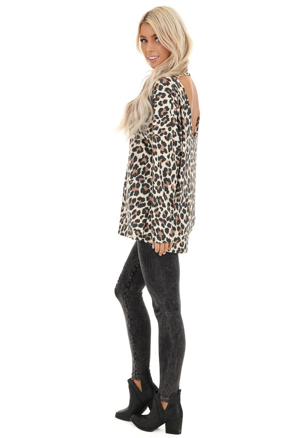 Cream Leopard Print Top with Long Sleeves and Back Cutout side full body
