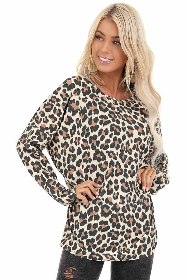 Cream Leopard Print Top with Long Sleeves and Back Cutout front close up