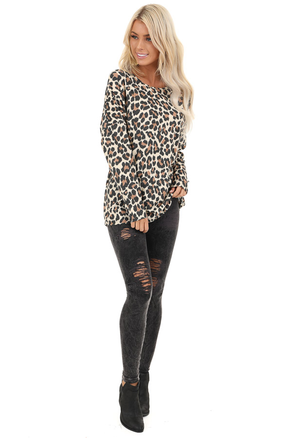 Cream Leopard Print Top with Long Sleeves and Back Cutout front full body
