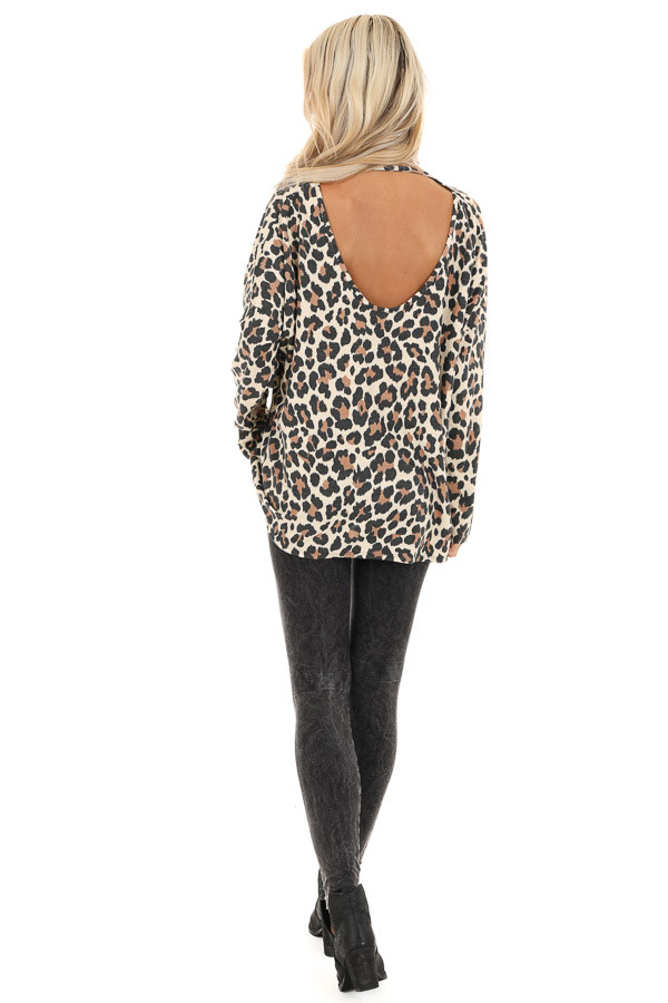 Cream Leopard Print Top with Long Sleeves and Back Cutout back full body