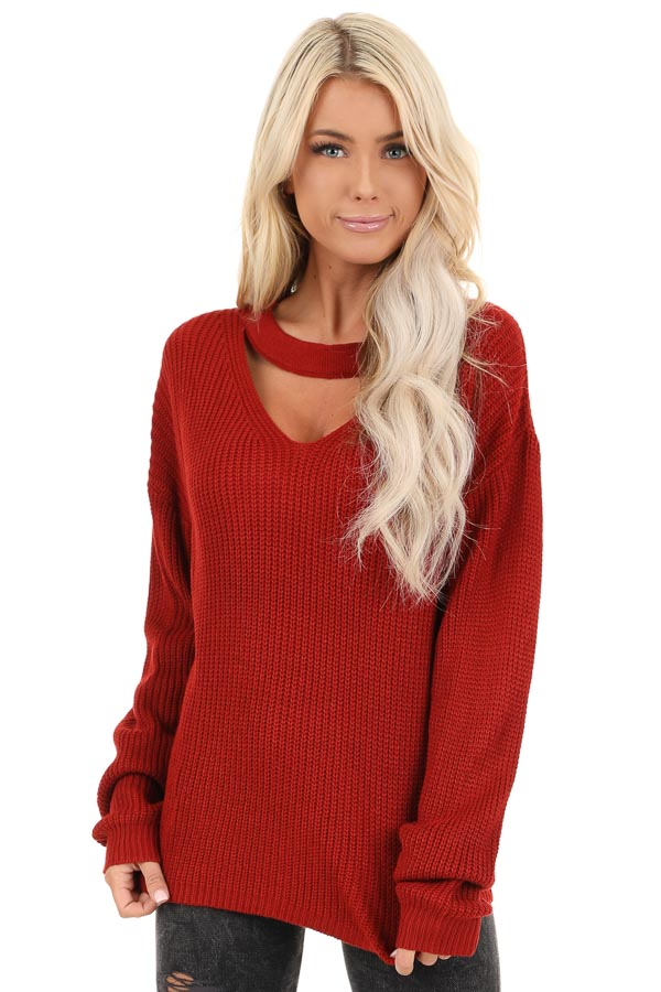 Ruby Red Knit Sweater with Front Cutout Detail front close up