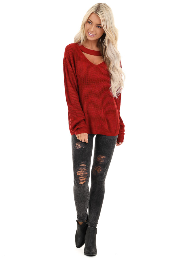 Ruby Red Knit Sweater with Front Cutout Detail front full body