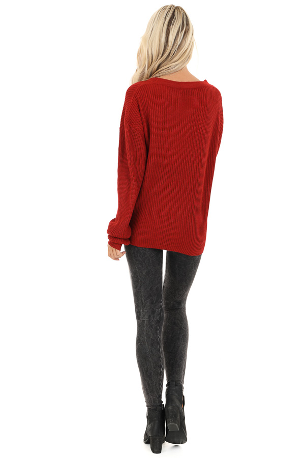 Ruby Red Knit Sweater with Front Cutout Detail back full body