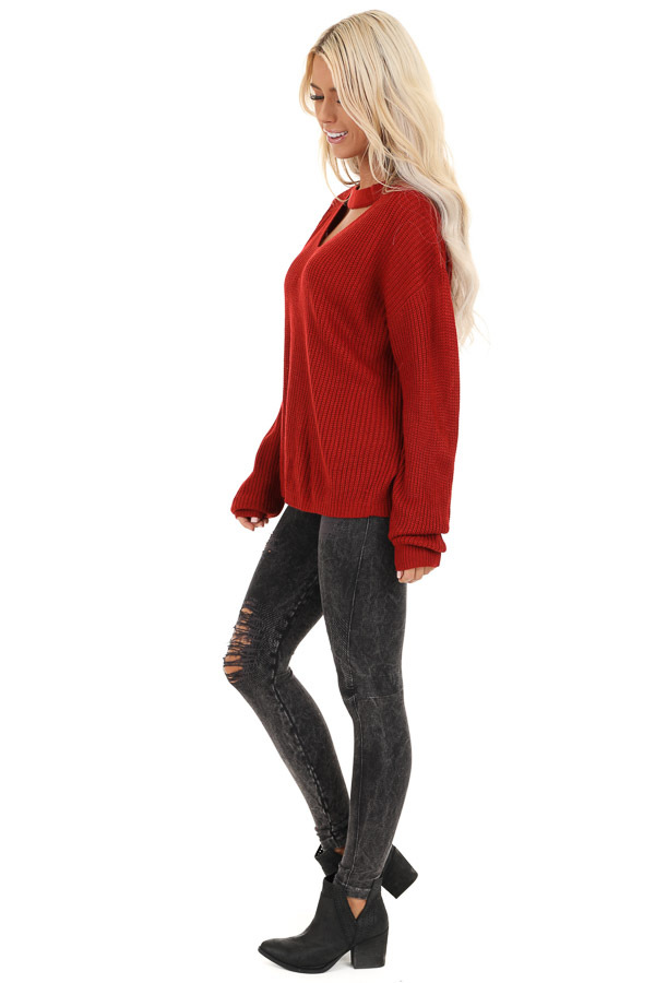 Ruby Red Knit Sweater with Front Cutout Detail side full body