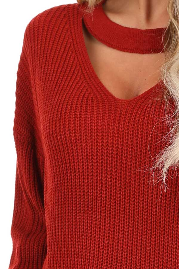 Ruby Red Knit Sweater with Front Cutout Detail detail
