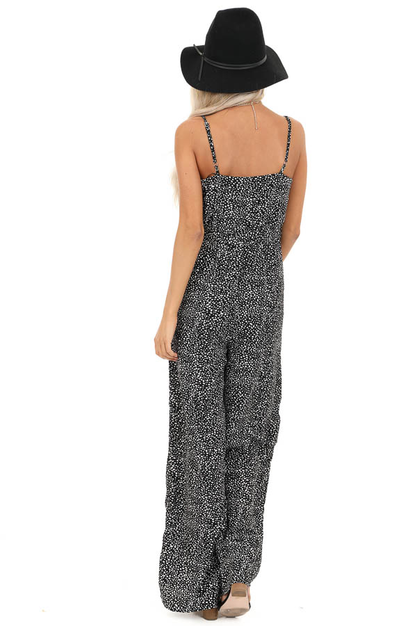 Black and White Polka Dotted Spaghetti Strap Jumpsuit back full body