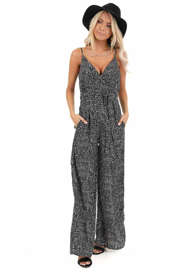 Black and White Polka Dotted Spaghetti Strap Jumpsuit front full body