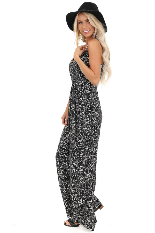 Black and White Polka Dotted Spaghetti Strap Jumpsuit side full body