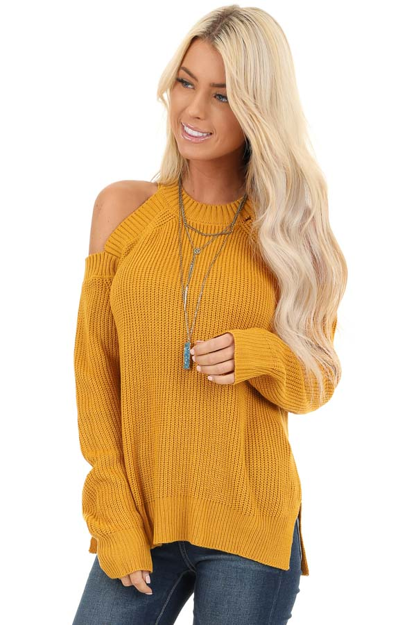 Mustard Long Sleeve Ribbed Sweater Top with Cold Shoulders front close up