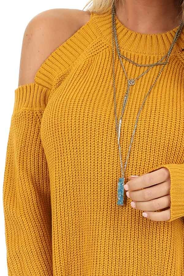 Mustard Long Sleeve Ribbed Sweater Top with Cold Shoulders detail
