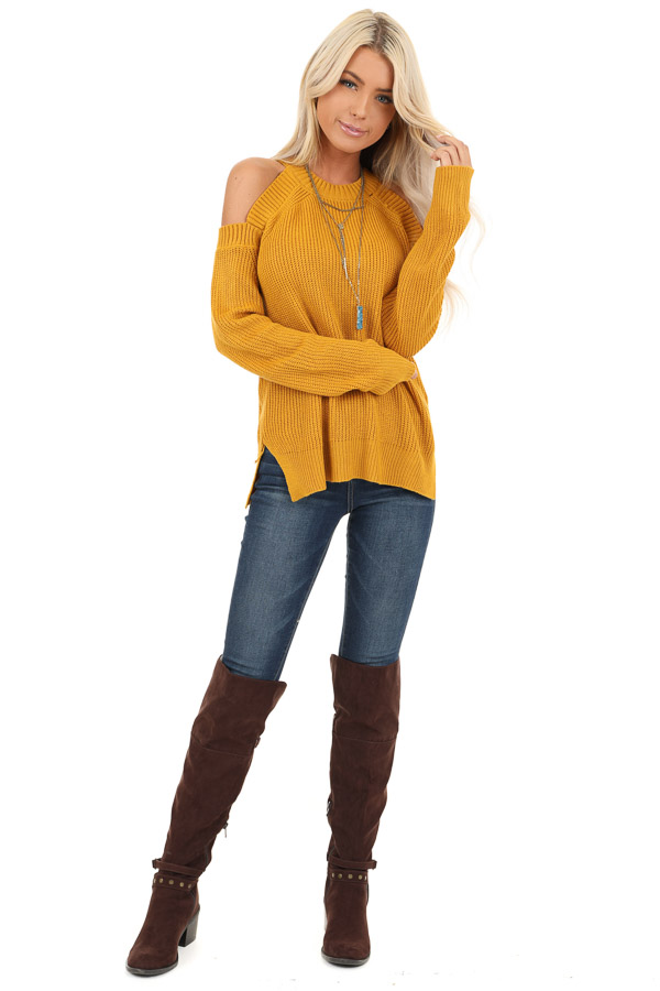 Mustard Long Sleeve Ribbed Sweater Top with Cold Shoulders front full body