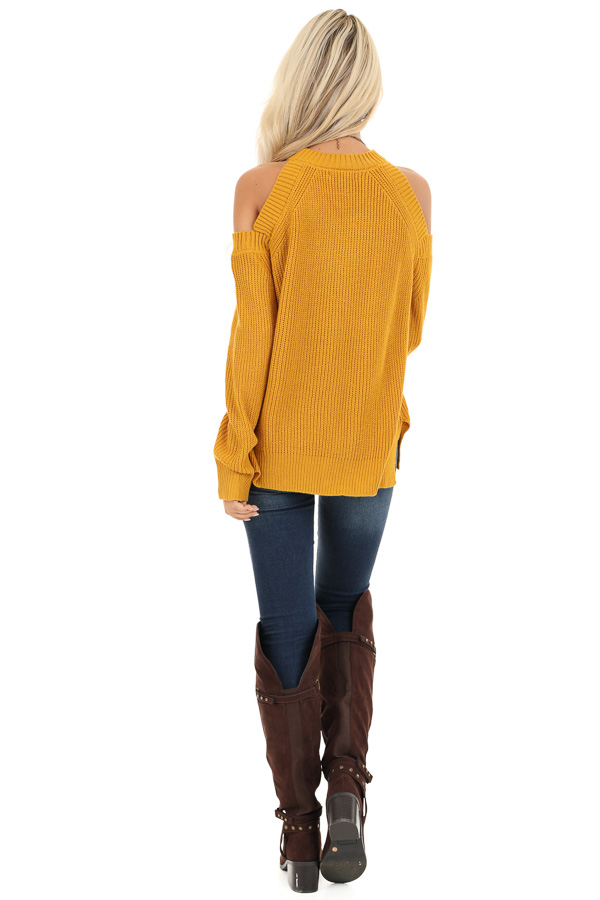 Mustard Long Sleeve Ribbed Sweater Top with Cold Shoulders back full body