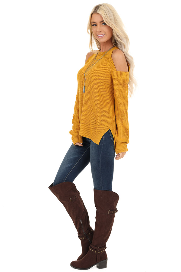 Mustard Long Sleeve Ribbed Sweater Top with Cold Shoulders side full body