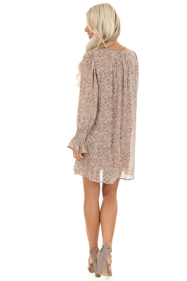 Taupe and Ivory Short Printed Dress with Long Sleeves back full body
