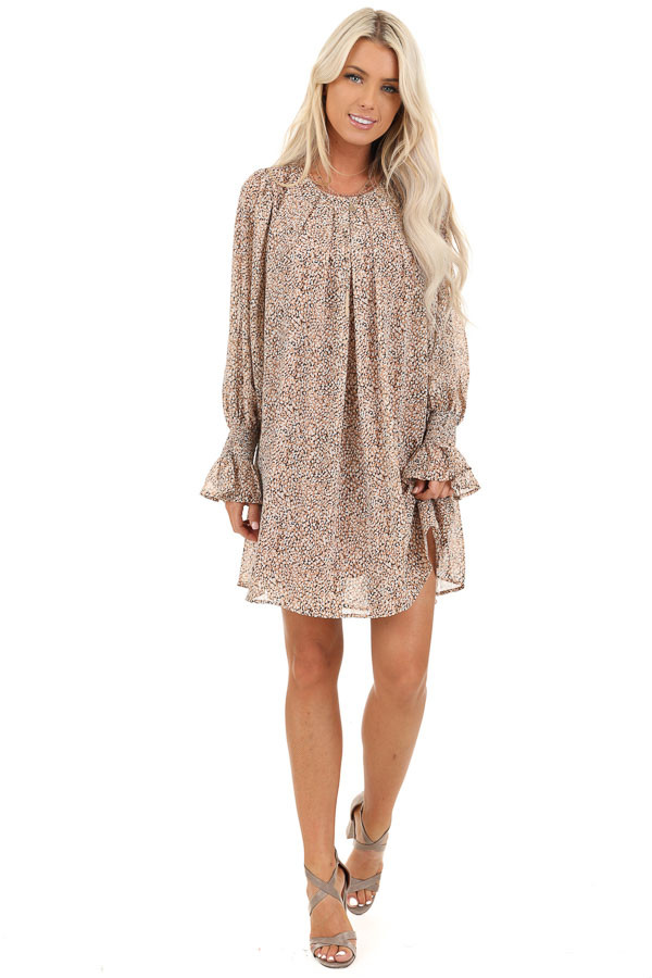 Taupe and Ivory Short Printed Dress with Long Sleeves front full body
