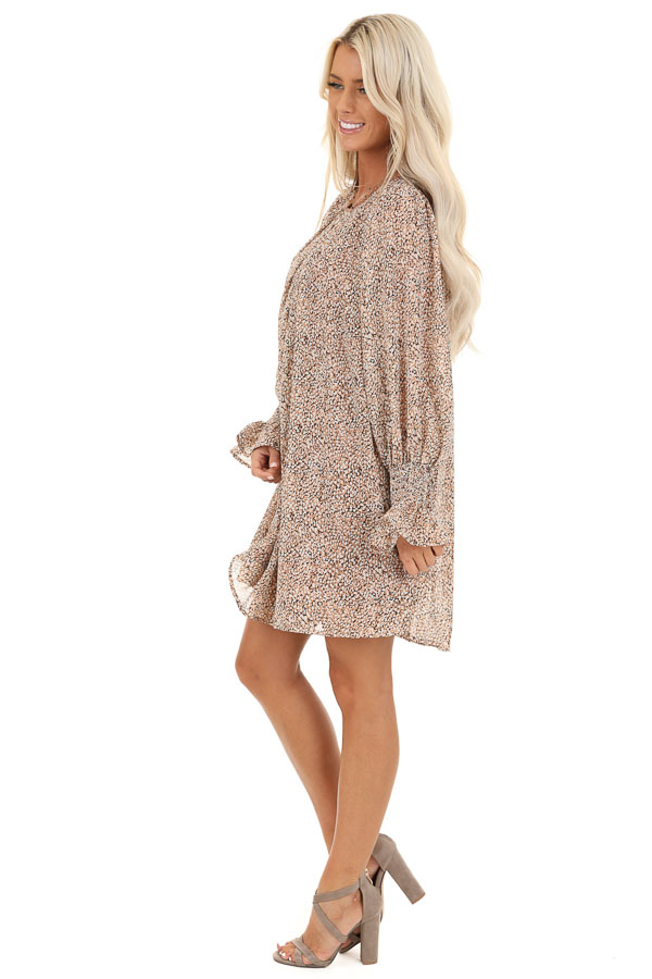 Taupe and Ivory Short Printed Dress with Long Sleeves side full body
