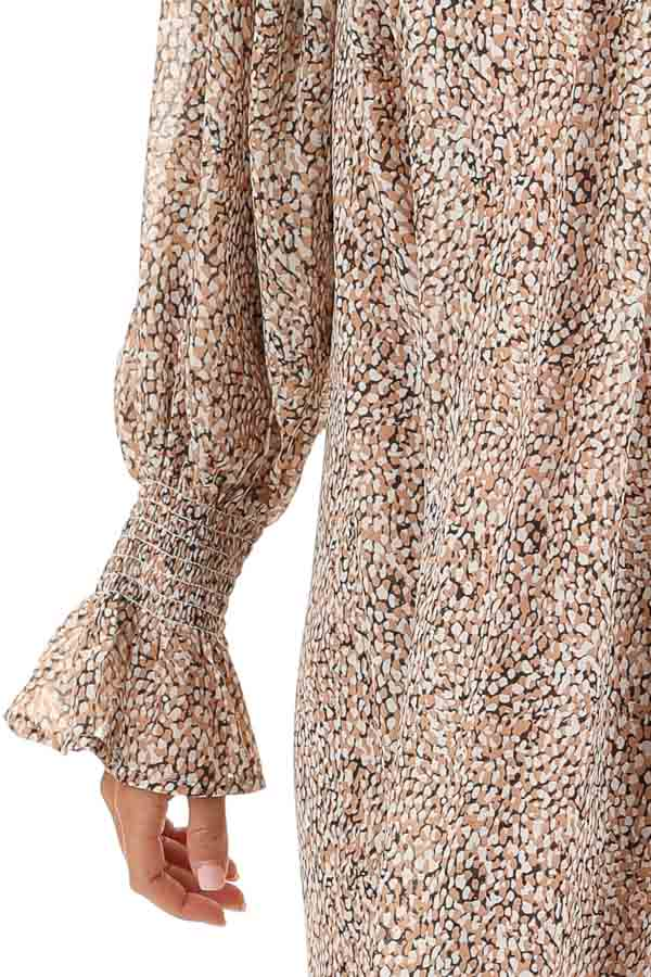 Taupe and Ivory Short Printed Dress with Long Sleeves detail