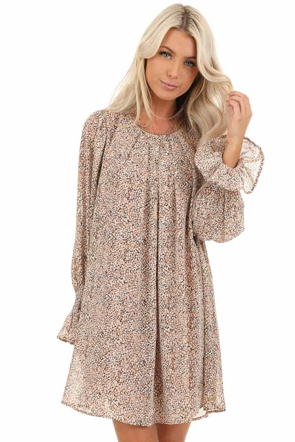 Taupe and Ivory Short Printed Dress with Long Sleeves