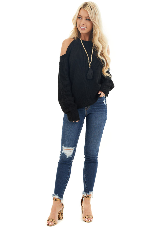 Black Long Sleeve Ribbed Sweater Top with Cold Shoulders front full body