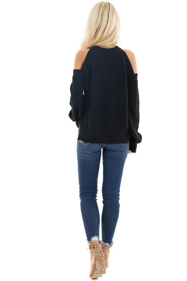 Black Long Sleeve Ribbed Sweater Top with Cold Shoulders back full body
