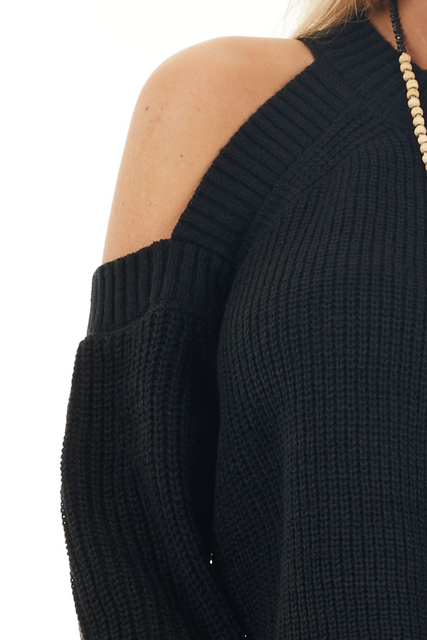 Black Long Sleeve Ribbed Sweater Top with Cold Shoulders detail