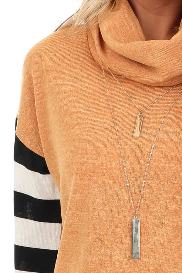 Mustard and Sage Cowl Neck Top with Long Striped Sleeves detail