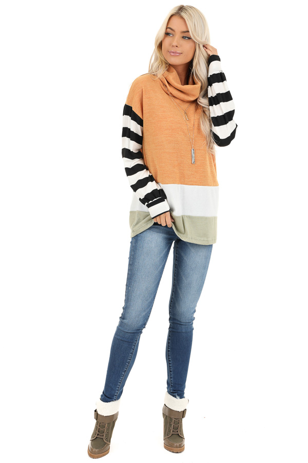 Mustard and Sage Cowl Neck Top with Long Striped Sleeves front full body