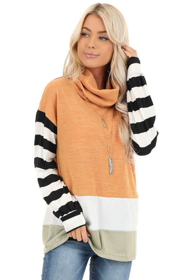 Mustard and Sage Cowl Neck Top with Long Striped Sleeves front close up