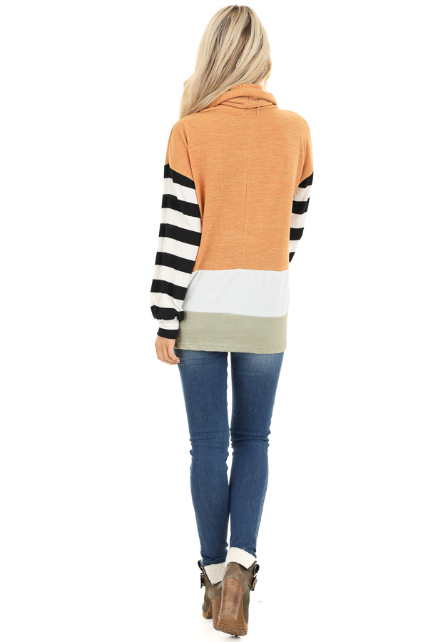 Mustard and Sage Cowl Neck Top with Long Striped Sleeves back full body