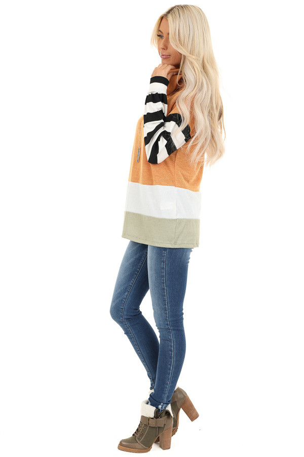 Mustard and Sage Cowl Neck Top with Long Striped Sleeves side full body