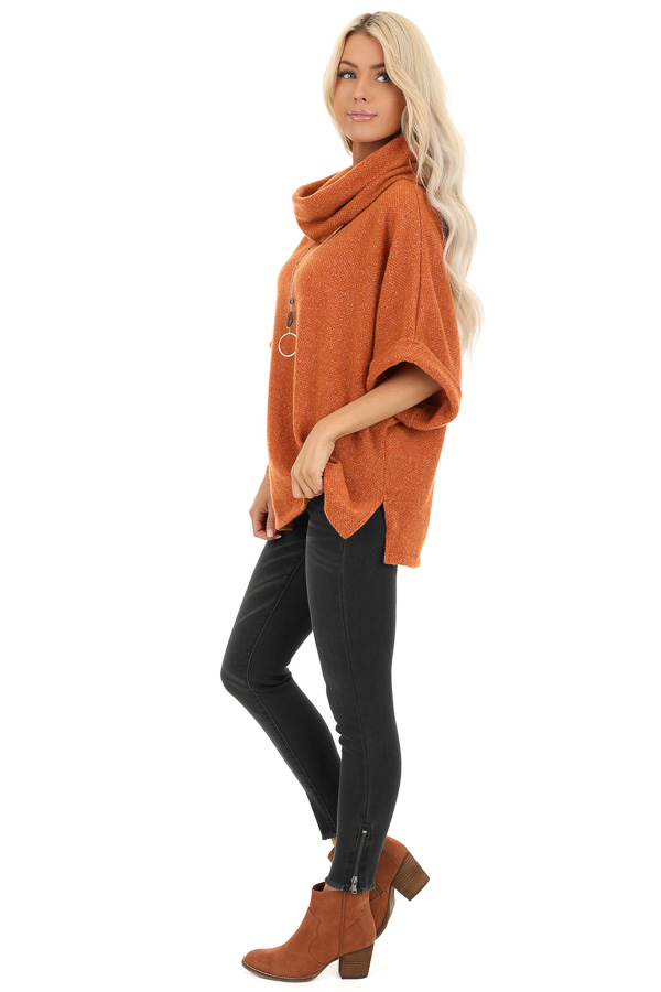 Burnt Orange Cowl Neck Top with 3/4 Length Dolman Sleeves side full body