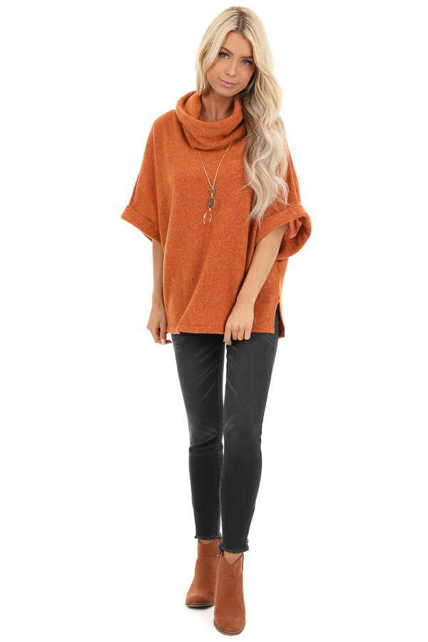 Burnt Orange Cowl Neck Top with 3/4 Length Dolman Sleeves front full body