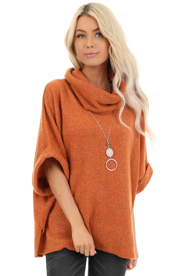 Burnt Orange Cowl Neck Top with 3/4 Length Dolman Sleeves front close up