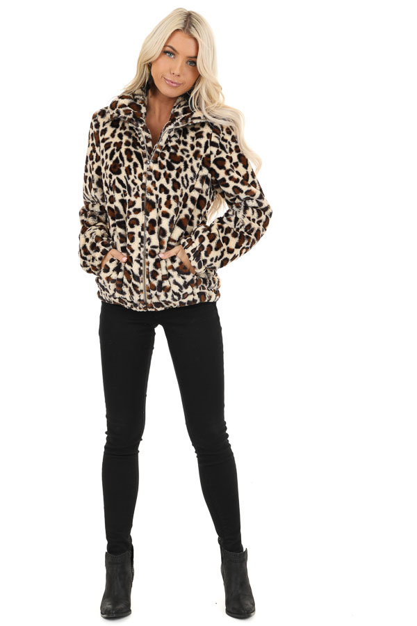 Cream and Mocha Leopard Print Faux Fur Long Sleeve Jacket front full body