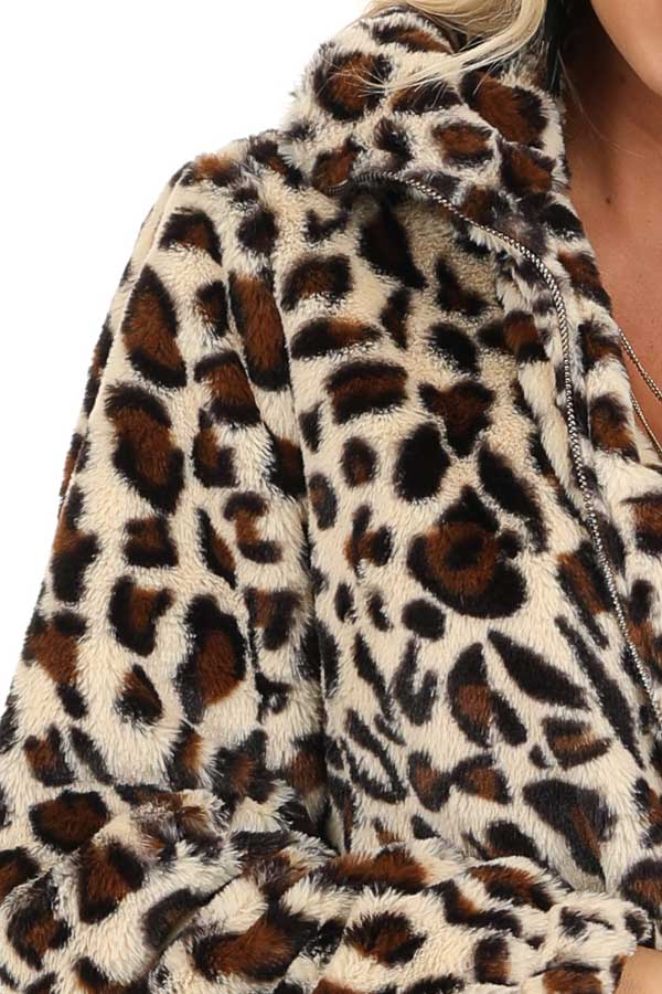 Cream and Mocha Leopard Print Faux Fur Long Sleeve Jacket detail