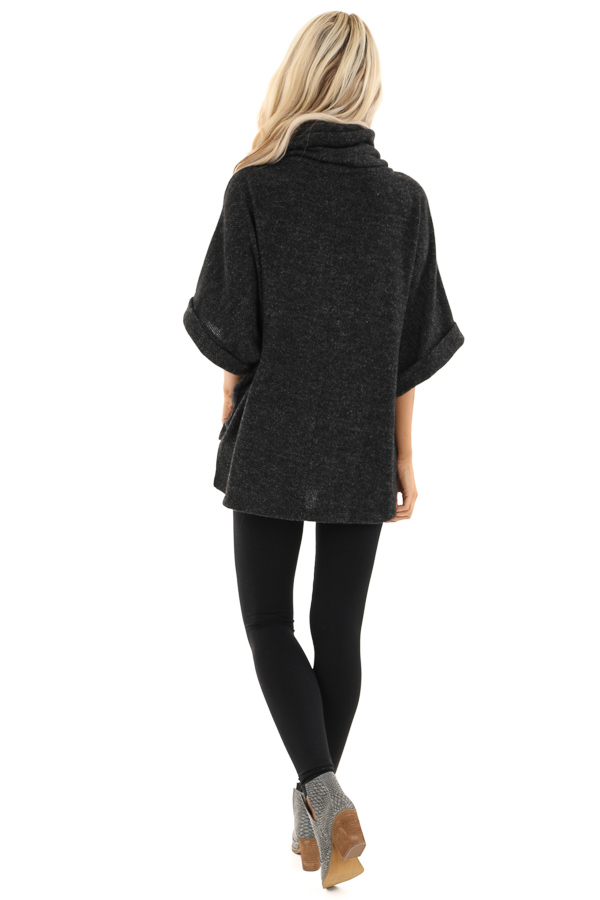 Black Cowl Neck Top with 3/4 Length Dolman Sleeves back full body