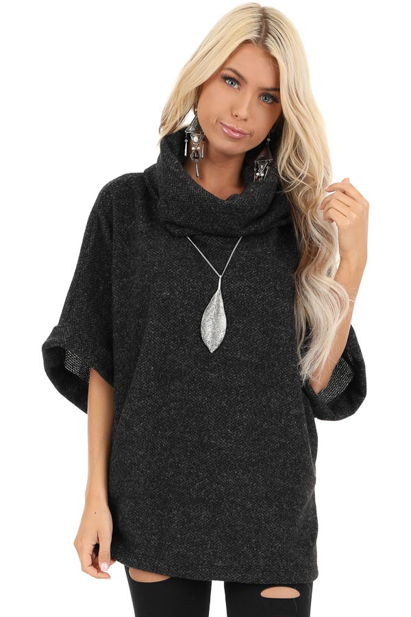 Black Cowl Neck Top with 3/4 Length Dolman Sleeves front close up