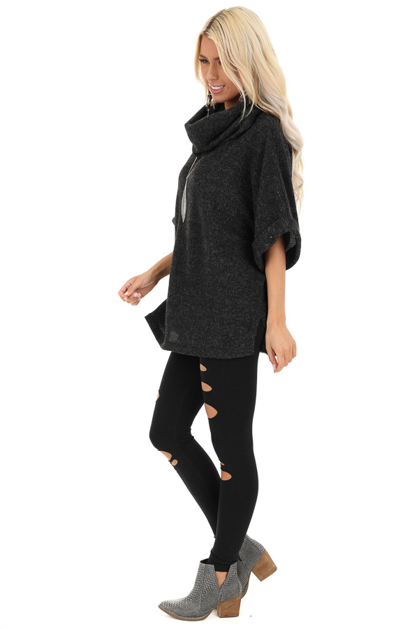 Black Cowl Neck Top with 3/4 Length Dolman Sleeves side full body
