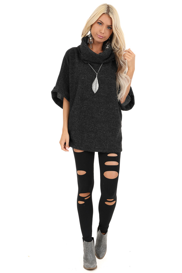 Black Cowl Neck Top with 3/4 Length Dolman Sleeves front full body