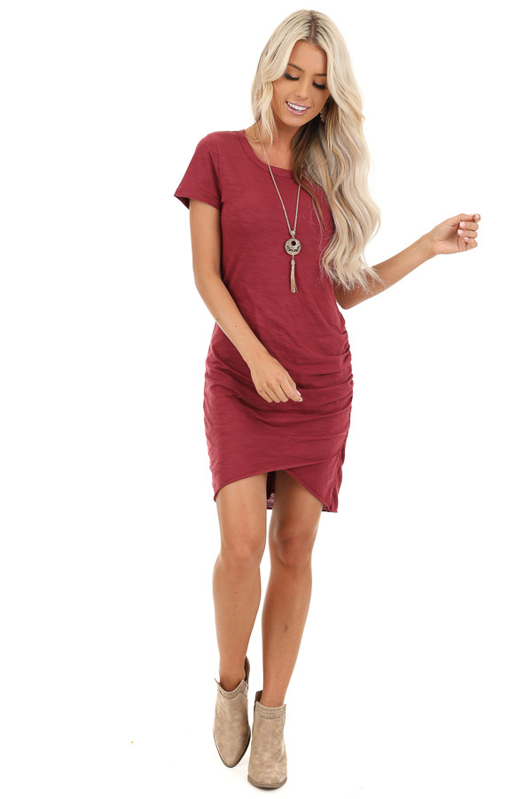 Ruby Red Short Sleeve Mini Dress with Side Gather Detail front full body