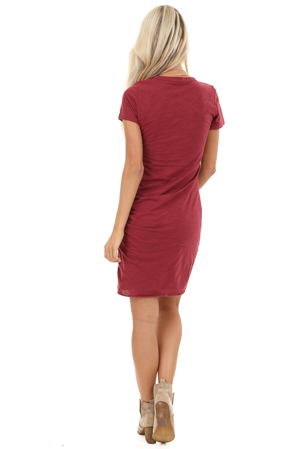 Ruby Red Short Sleeve Mini Dress with Side Gather Detail back full body