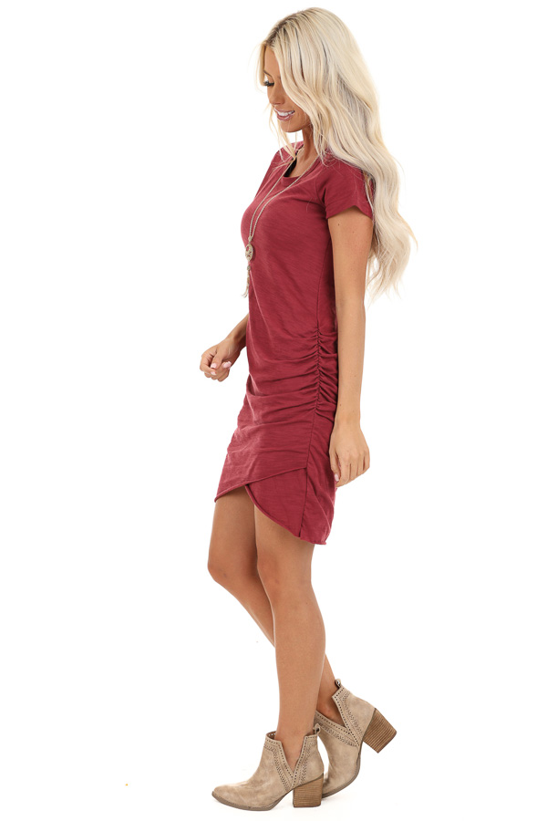 Ruby Red Short Sleeve Mini Dress with Side Gather Detail side full body