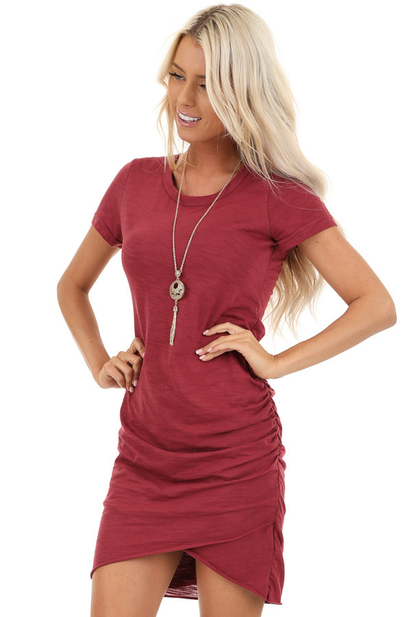 Ruby Red Short Sleeve Mini Dress with Side Gather Detail front close up